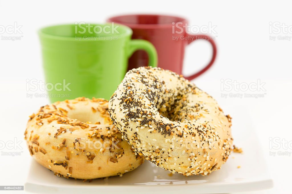 Bagel breakfast for two stock photo