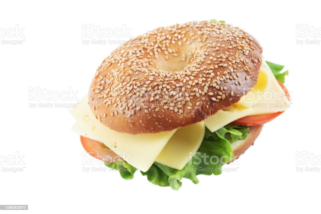 Bagel ost tomat och sallad Sandwich bildbanksfoto