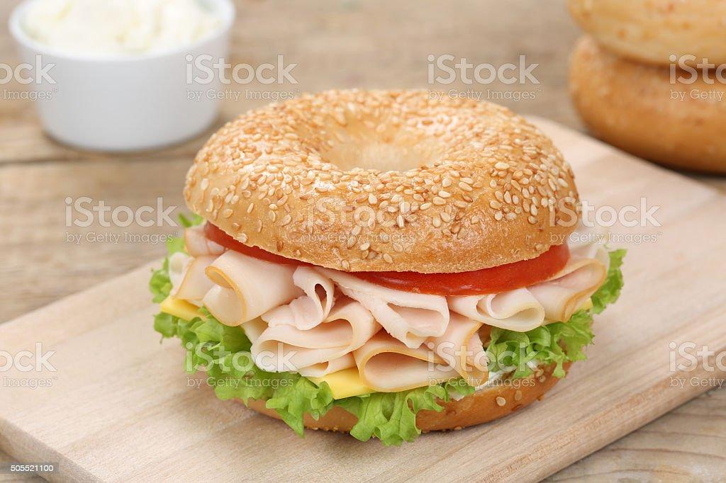 Bagel sandwich for breakfast with ham stock photo