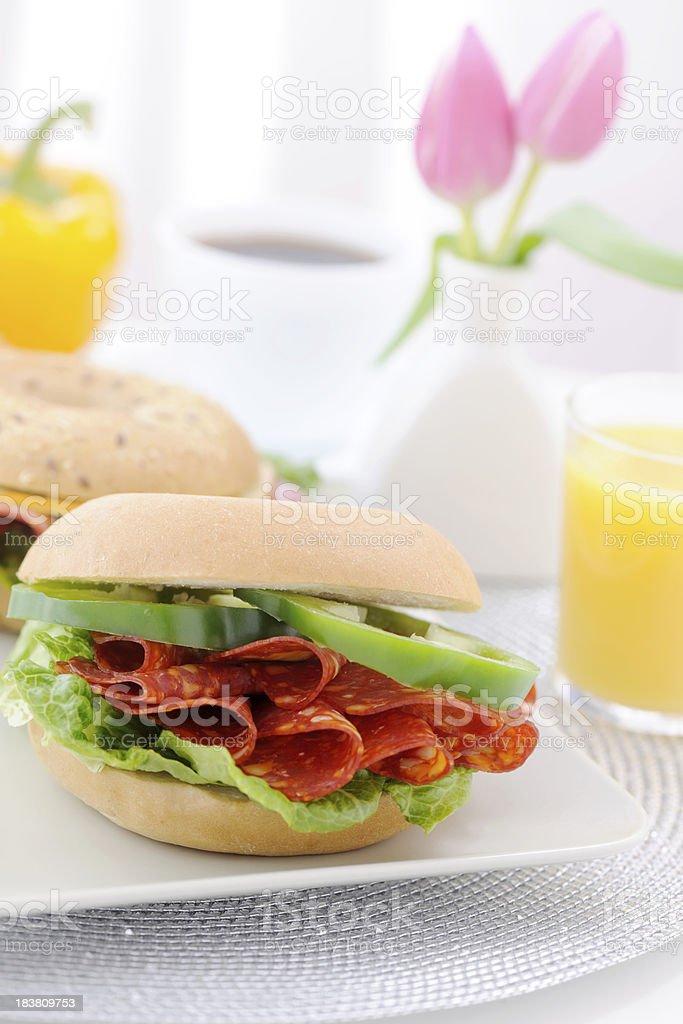 Bagel sandwich with chorizo royalty-free stock photo