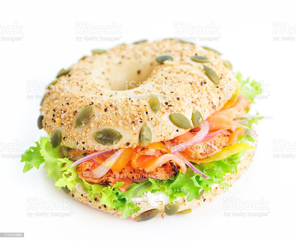 Bagel sandwich with lox and lettuce stock photo