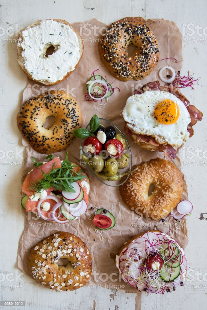 Bagel Sandwiches on Paper stock photo