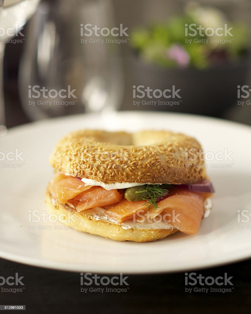 Bagel saumon stock photo