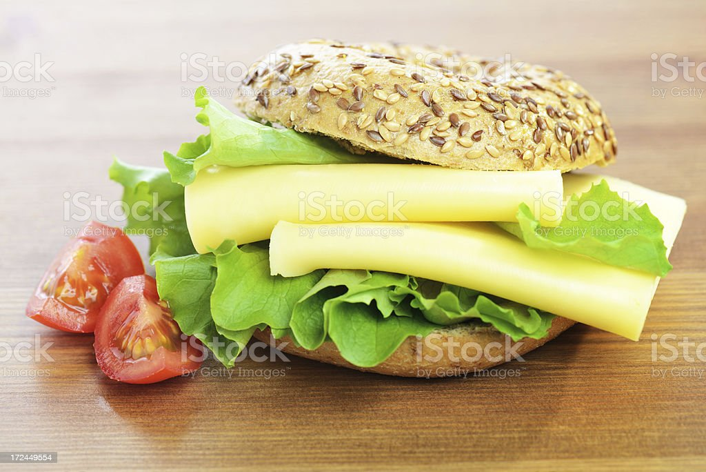 Bagel with cheese royalty-free stock photo