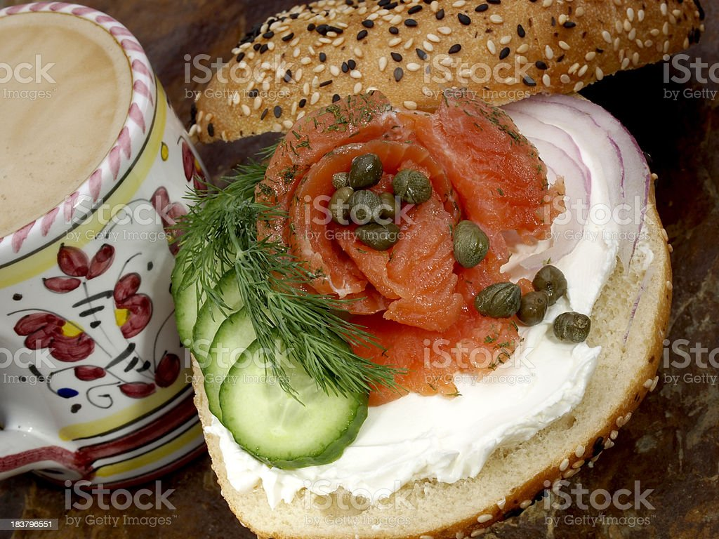 Bagel with cream cheese and lox (gravlax) royalty-free stock photo