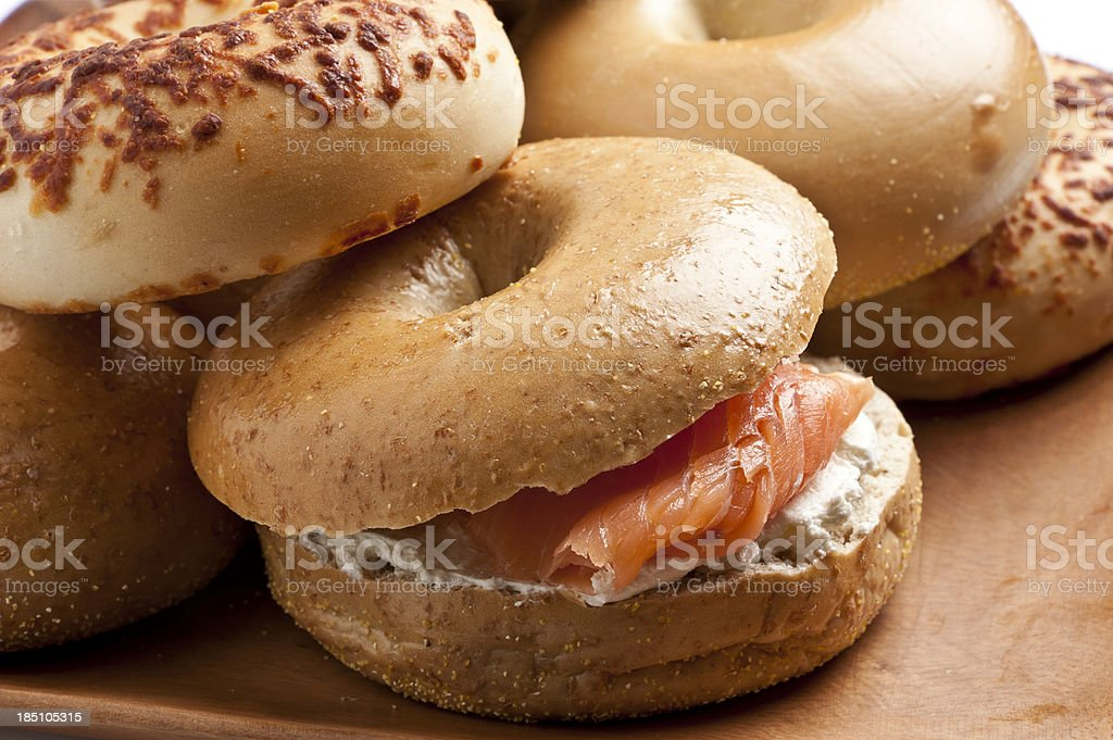 Bagel with cream cheese and smoked salmon royalty-free stock photo