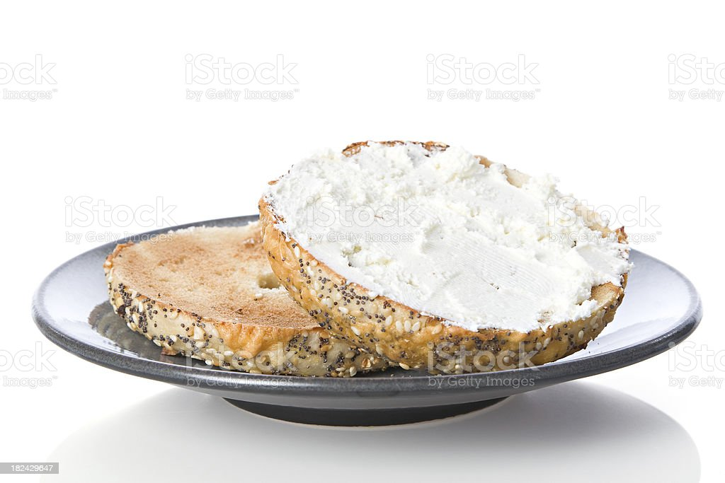 Bagel with Cream Cheese for Breakfast stock photo