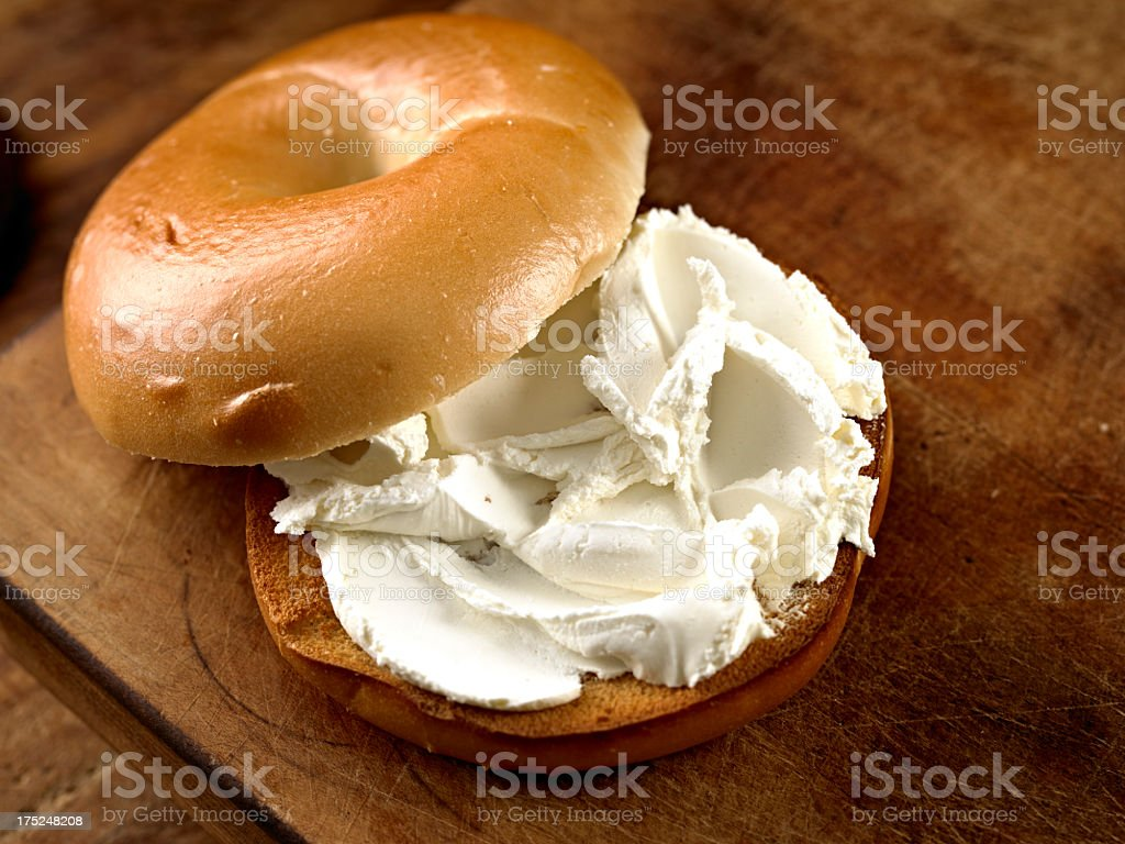 Bagel with Cream Cheese. stock photo