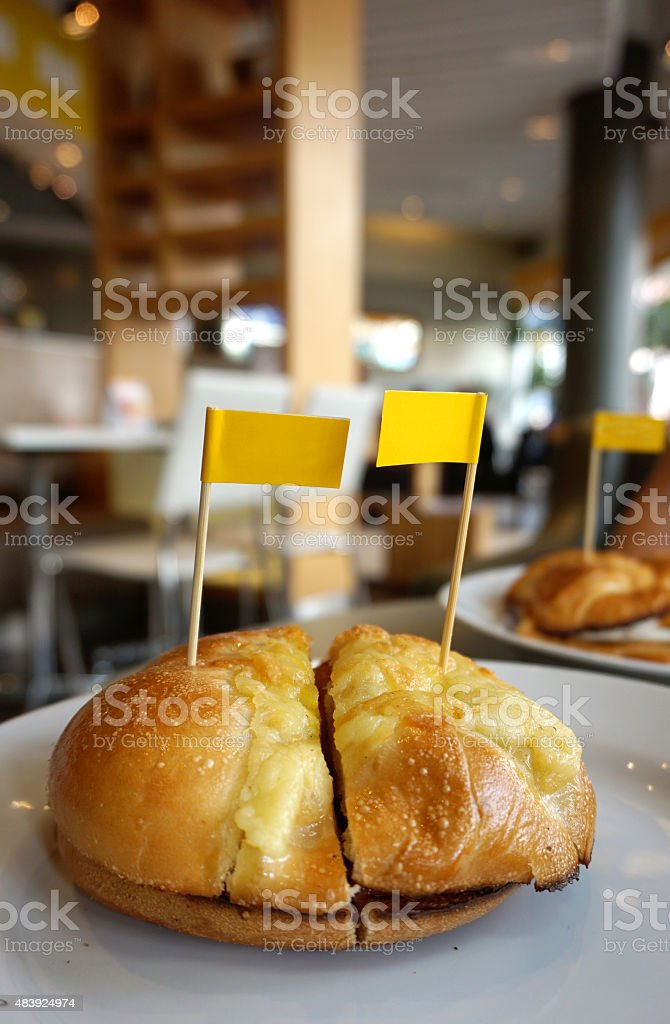 Bagel with egg and katch up stock photo