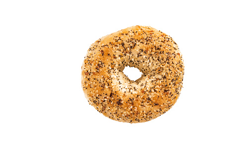 Bagel with poppy seeds, directly above. Isolated on white background.