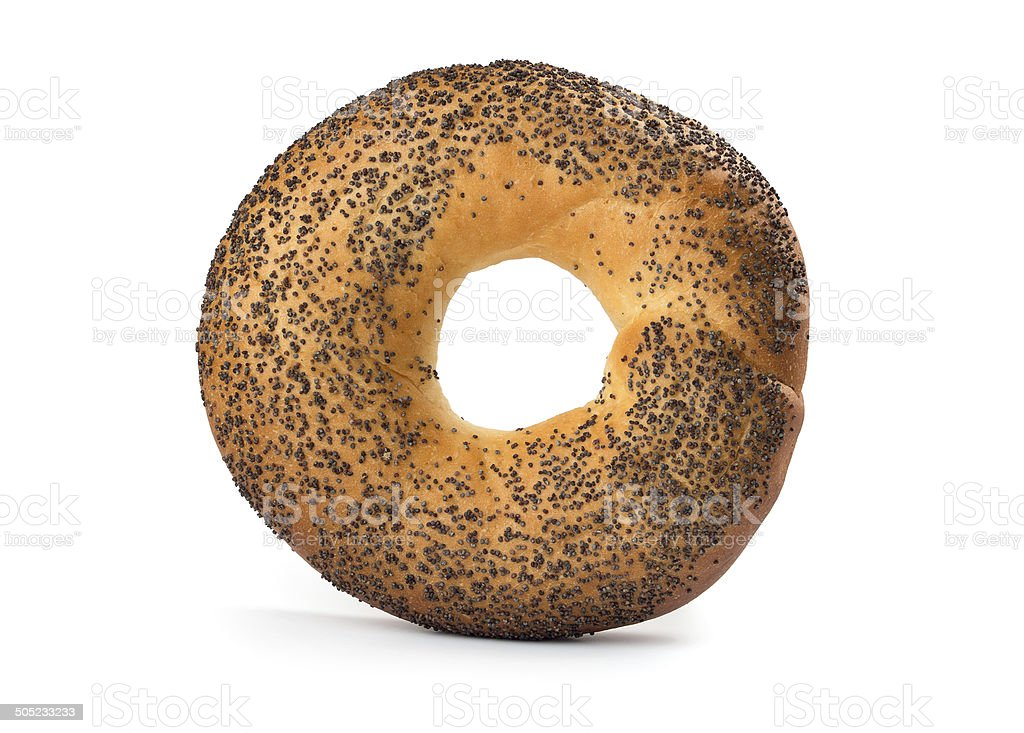 Bagel with poppy seeds stock photo
