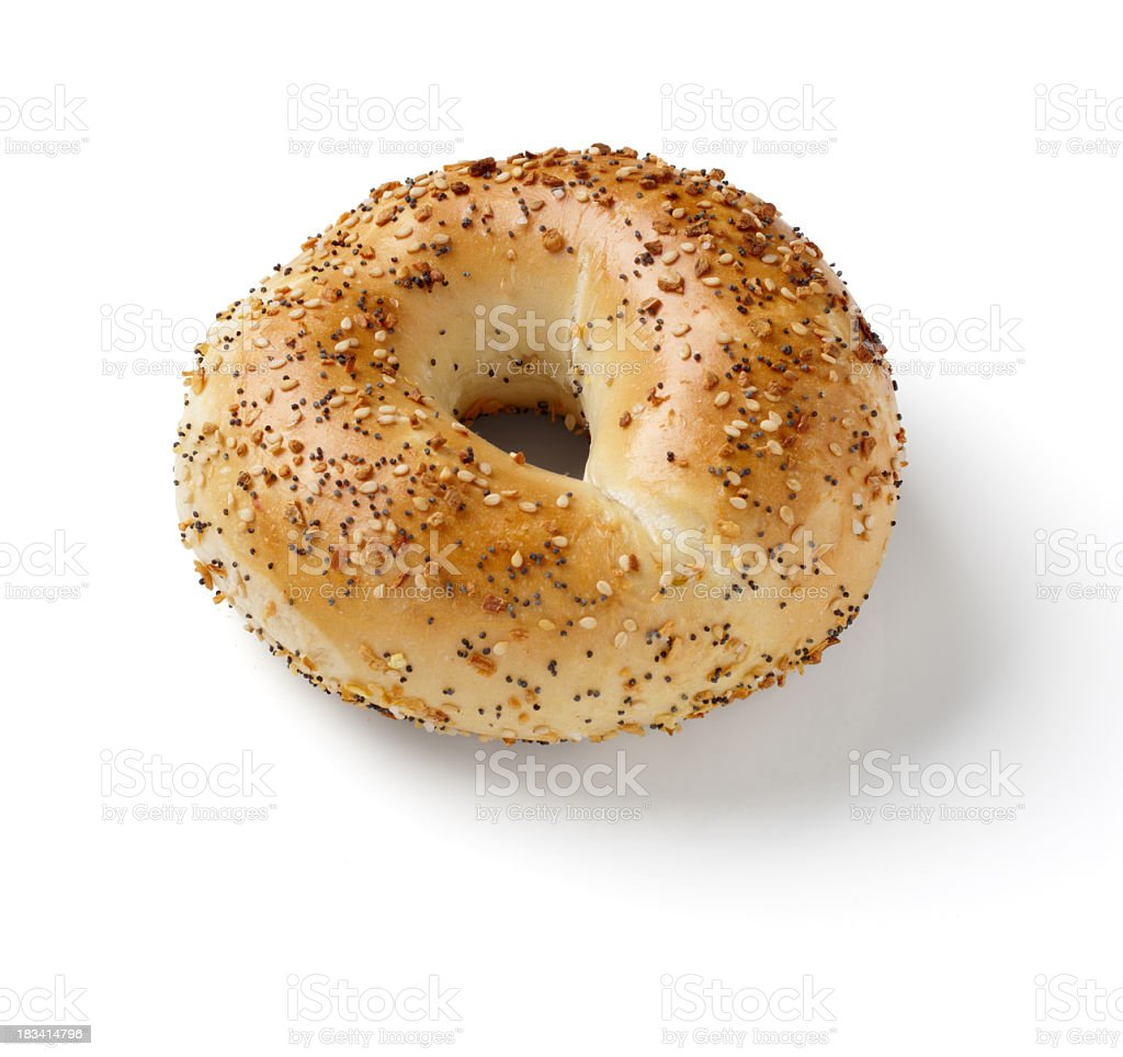 Bagel with sesame and poppy seeds on white background stock photo
