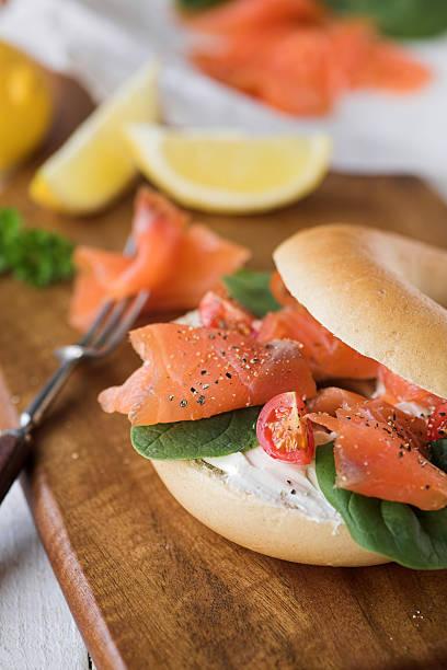 Bagel with smoked salmon & cream cheese stock photo