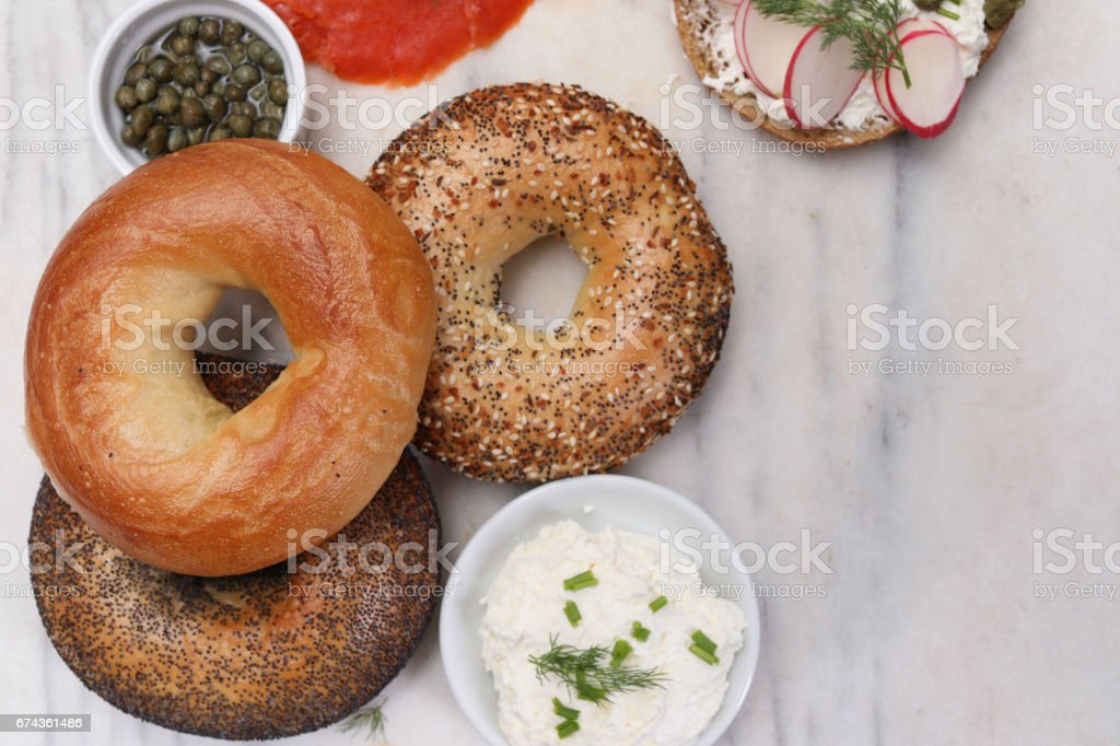 Bagels, Capers Cream Cheese And Lox stock photo