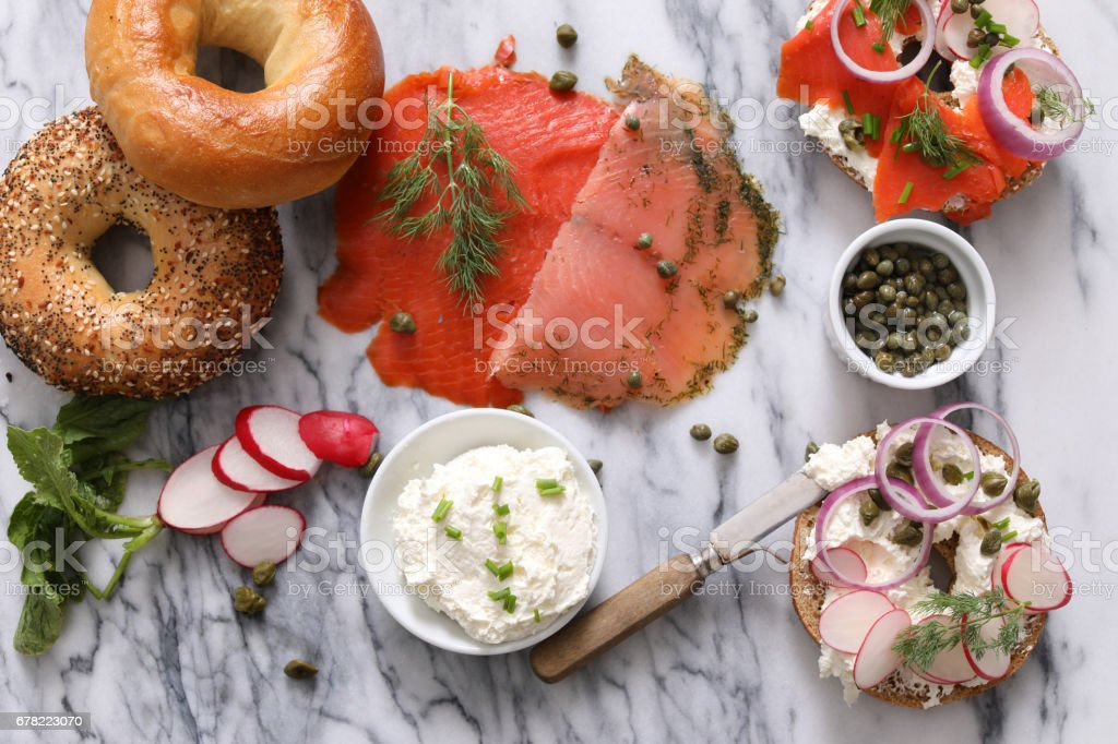 Bagels, Cream Cheese And Lox stock photo