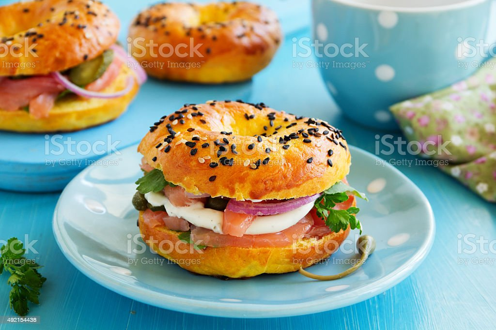Bagels with salmon and cream cheese. stock photo