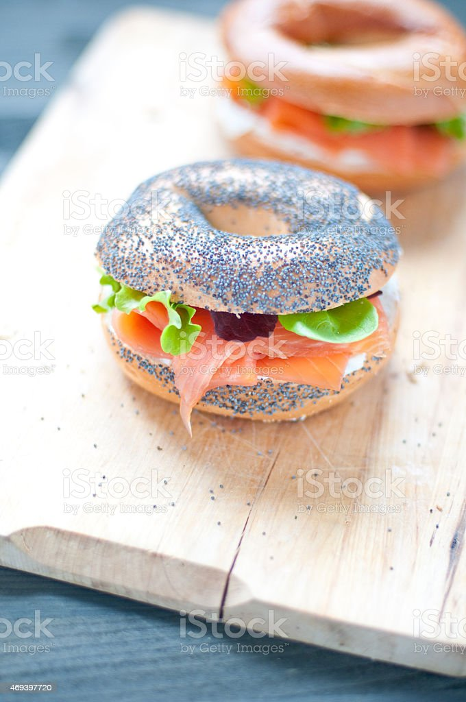 Bagels with salmon and fresh cream stock photo
