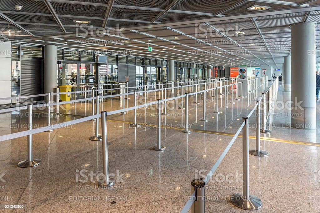baggage check in the terminal in Frankfurt stock photo