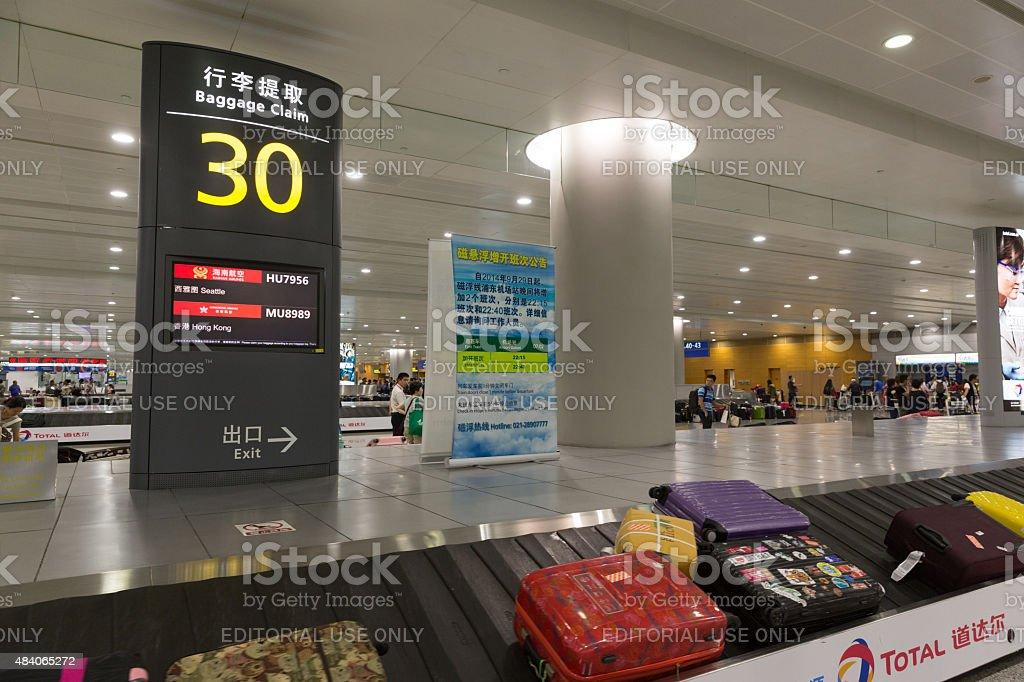 Aeroporto Xangai : Área de recolha bagagem no aeroporto internacional