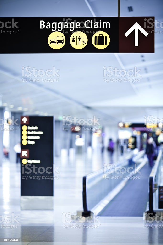 Baggage Claim Sign at the Airport stock photo
