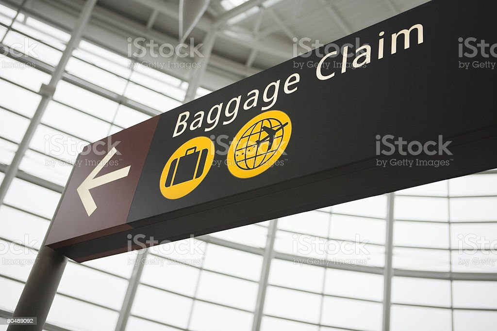 A baggage claim sign royalty-free 스톡 사진