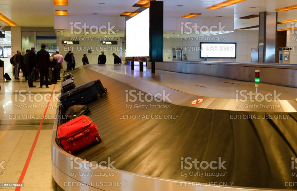Istanbul, Turkey - February 20, 2017: baggage claims and passengers at the Sabiha Gokcen International Airport stock photo