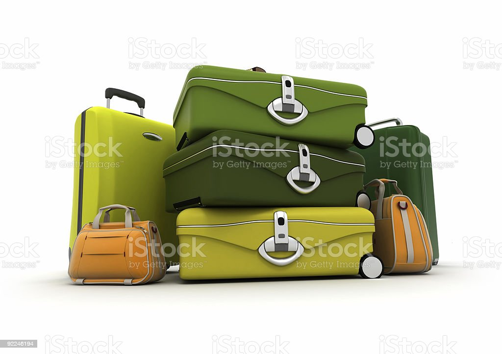 Baggage set in green and acid colours stock photo