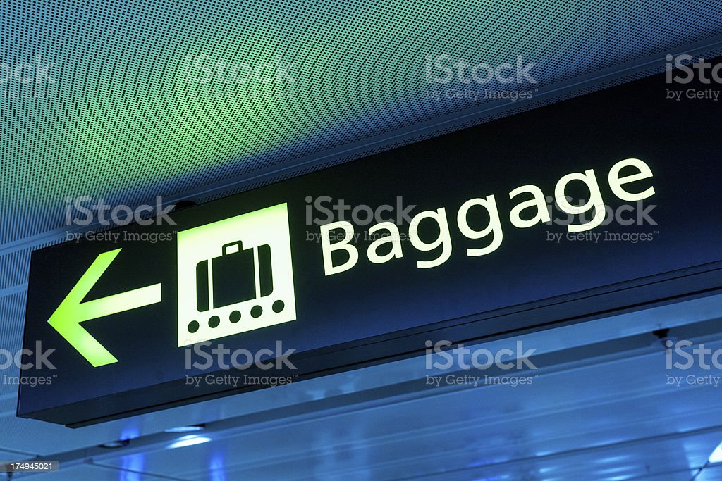 Baggage Sign Panel at the Airport stock photo