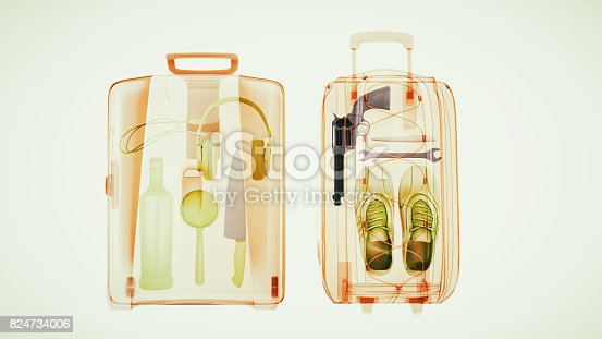istock Baggage through the Xray machine to ensure safety. 824734006