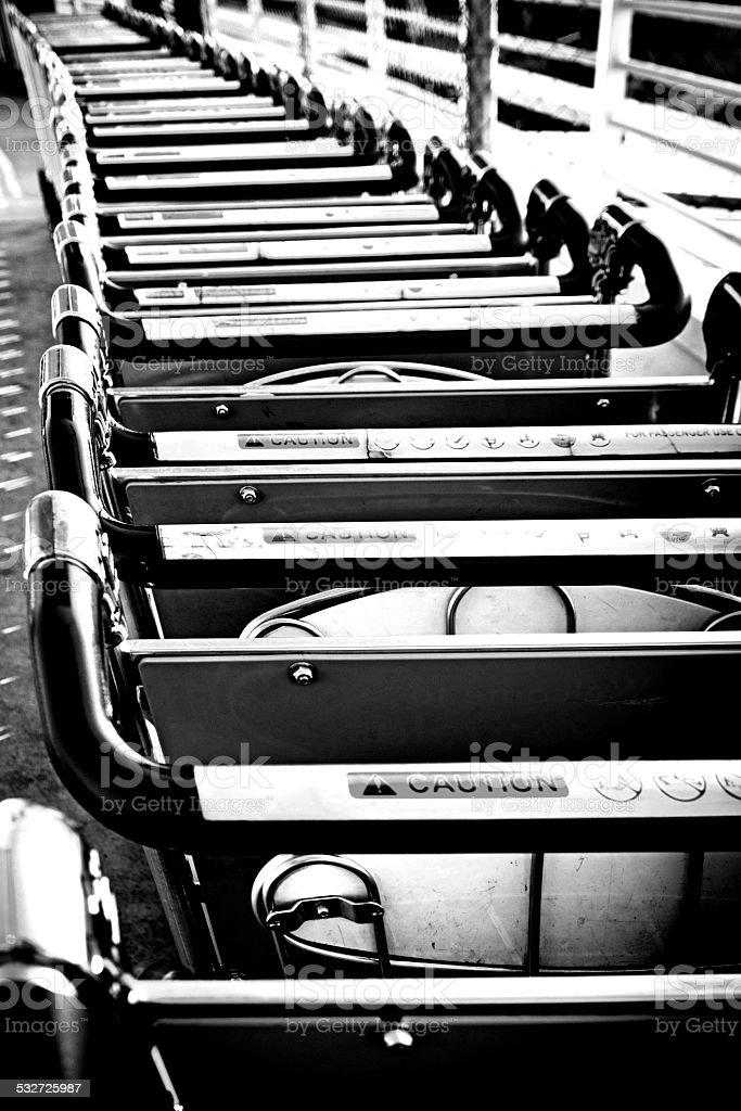 Baggage trolleys stock photo