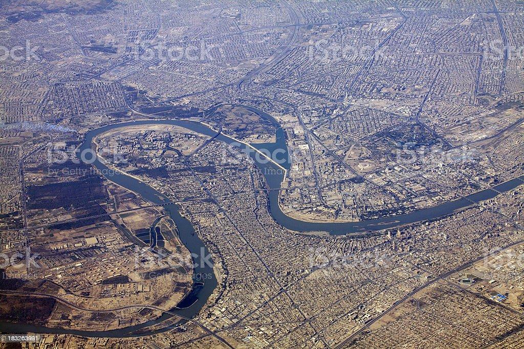Bagdad y río Tigris - foto de stock