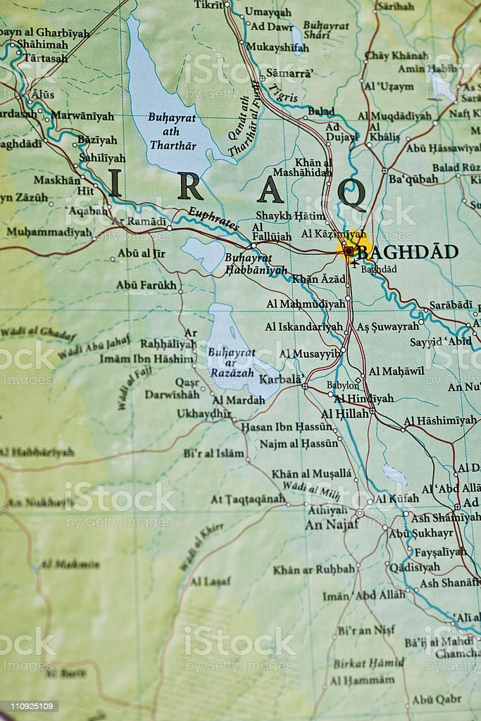 baghdad iraq map royalty free stock photo
