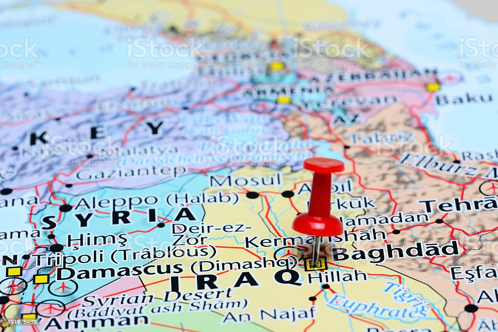 baghdad pinned on a map of asia royalty free stock photo