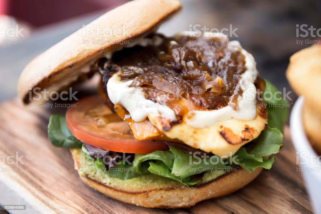 Bagle Burger on the woodboard stock photo