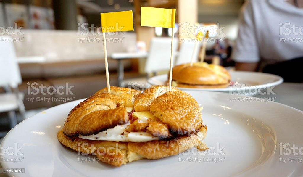 Bagle with egg and katch up stock photo