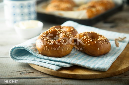 Homemade bagles with sesame seeds