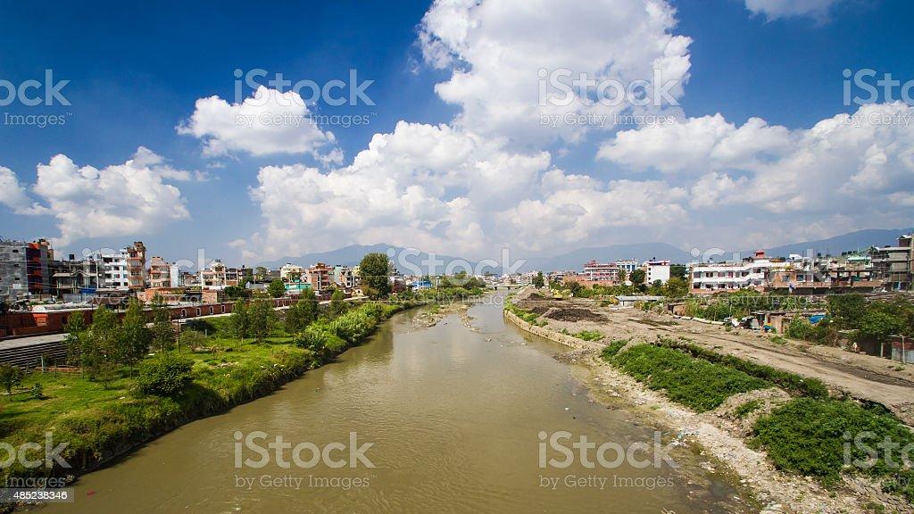 Bagmati River, from Sankhamul Bridge, in Kathmandu, Nepal stock photo