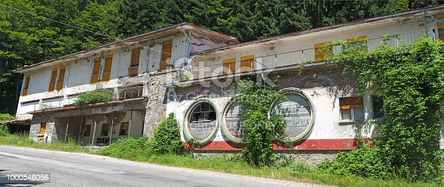 Bagno di Romagna, Italy. Abandoned restaurant on the road to the Mandrioli mountain pass