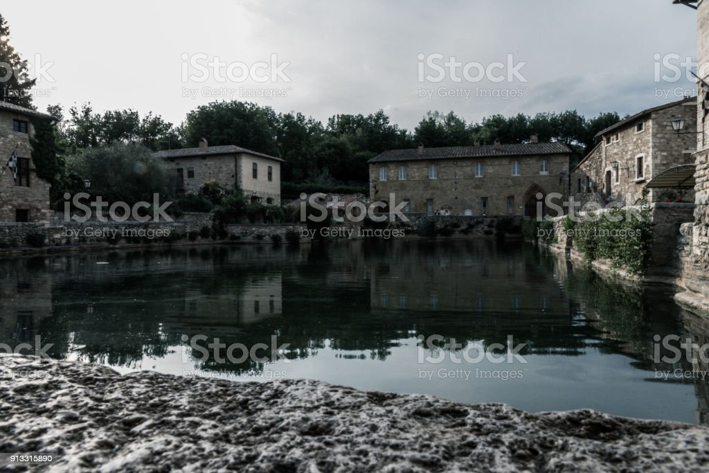 Bagno Vignoni Main Thermal Bath stock photo