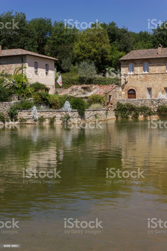 Bagno Vignoni medieval town with its square stock photo