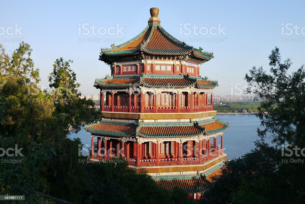 Bagoda of Buddha Fragrance Summer Palace Beijing stock photo