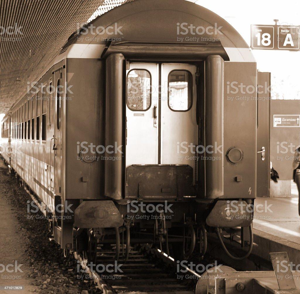 bagon sepia train in SBB  station in Zurich, Switzerland royalty-free stock photo