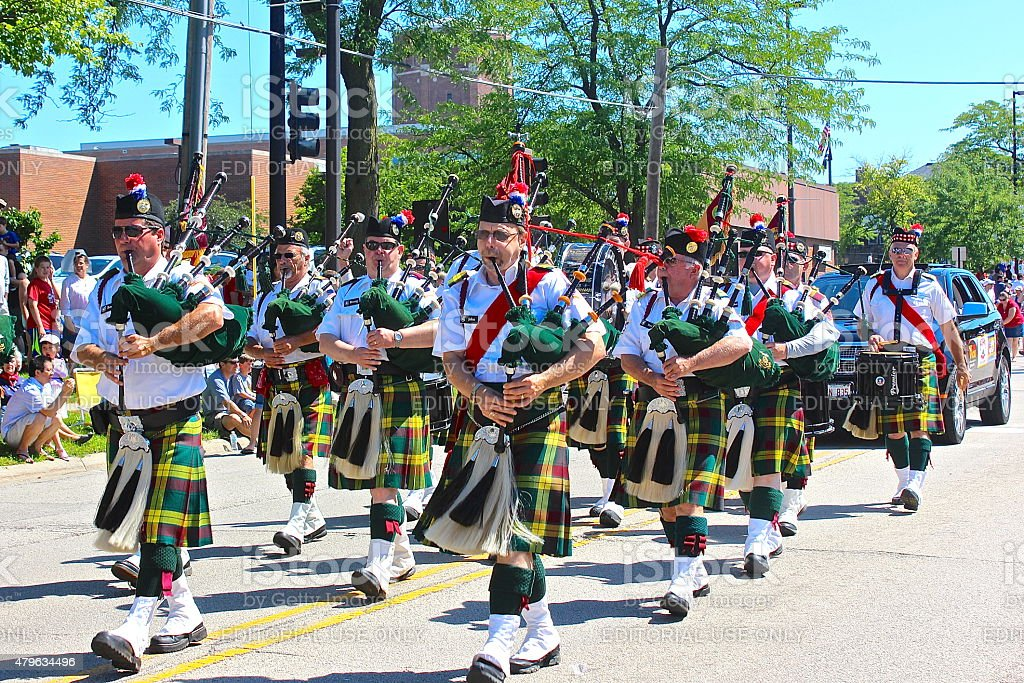 Bagpipe band in Independence Day 4th of July Parade stock photo