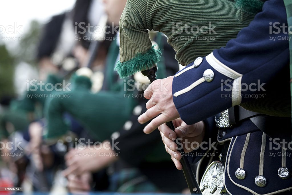 Bagpipe Players in a Marching Band stock photo