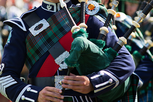 Bagpipe Players in a Scottish Pipe Band