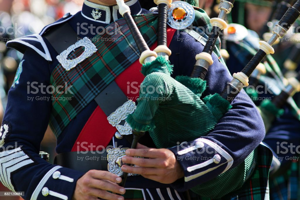Bagpipe Players in a Scottish Pipe Band stock photo