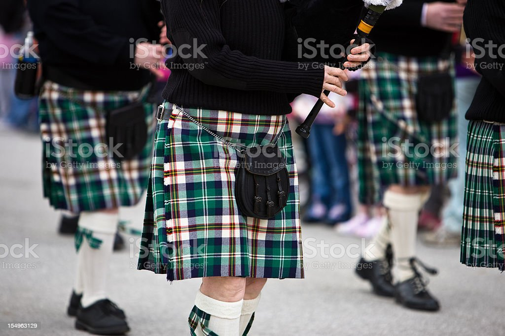 Bagpipers Marching stock photo