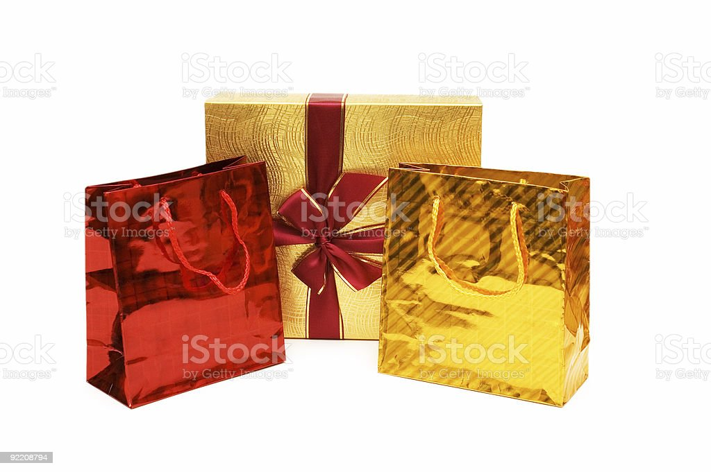 Bags and gift box isolated on the white royalty-free stock photo