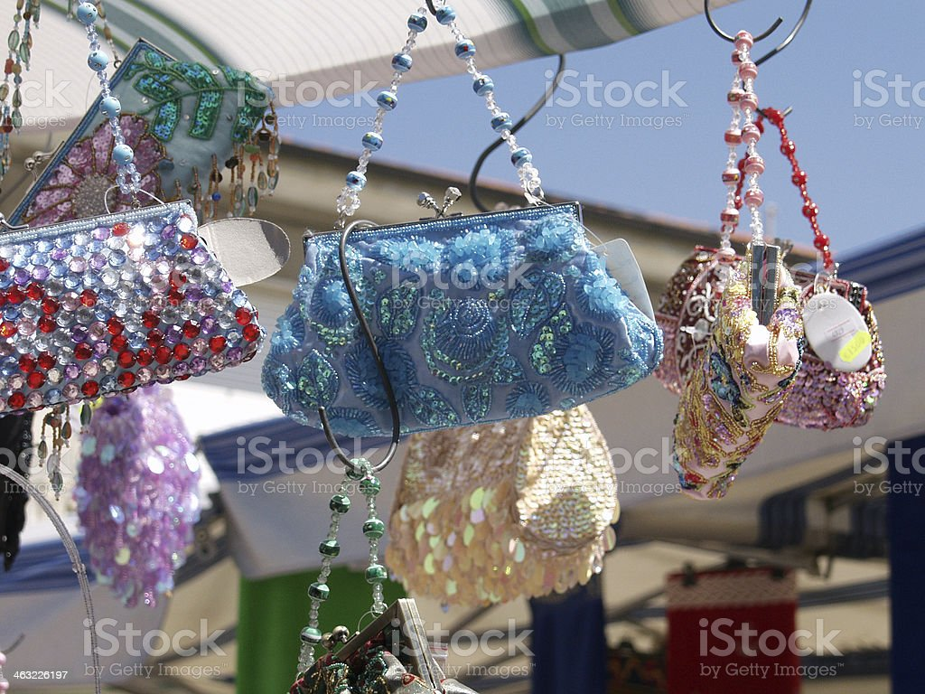 Bags at Market Stall stock photo