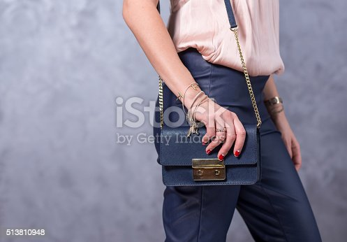 509923232istockphoto Bags fashion trends. Close up of gorgeous stylish bag 513810948
